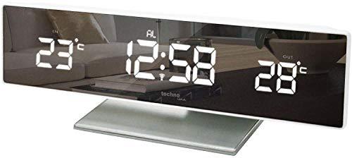 Technoline WS 6815 kleine Wetterstation mit LED-Anzeige und Spiegel-Display, inklusive Außensender TX96, Funkuhr, sowie Innen und Außentemperaturanzeige, 25,8 x 4,2 x 8 cm