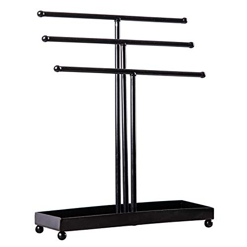 WELL-STRONG Necklace & Bracelet Holder 3 Tier Detachable Metal Tabletop Display Jewelry Ring Holder with Jewelry Tray Base Black