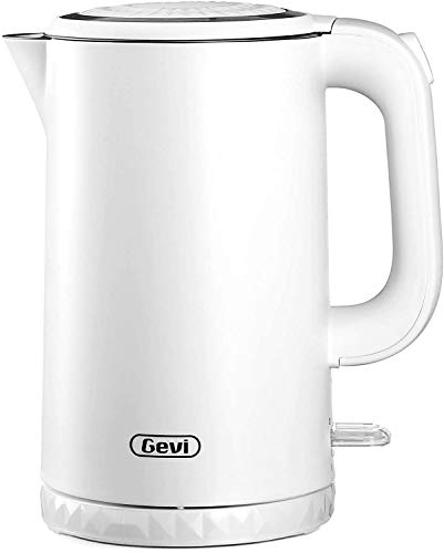Gevi Electric Kettle, 1.7L Double Wall 100% Stainless Steel Tea Kettle, Cool Touch & Cordless Electric Kettle with Overheating Protection, 1500W Hot Water Boiler (BPA-Free) with LED Indicator