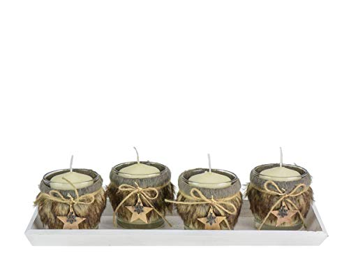 OUM-SET Formano Lot de 4 photophores en Verre avec Fourrure synthétique synthétique avec 4 Bougies et Bol