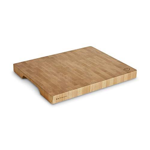 Eichenholz Schneidebrett Erik 40 x 50 x 4 cm, Rutschfest dank 4 Schaumstoffstopper, Holzbrett, Küchenbrett aus Stirnholz mit Griffmulde inkl. Pflegehinweis -