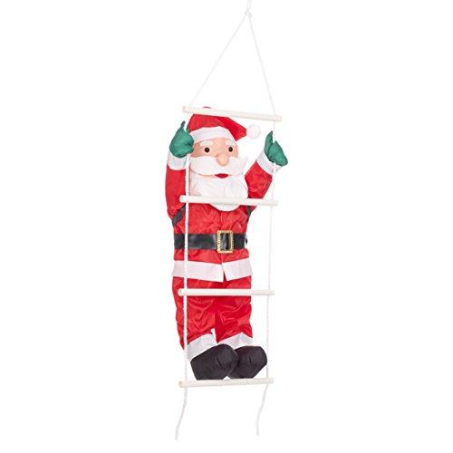 The Christmas Workshop 87730 60 cm Hecho de Cuerda de Escalada Escalera de Papá Noel Colgante Decorativo, Rojo/Blanco
