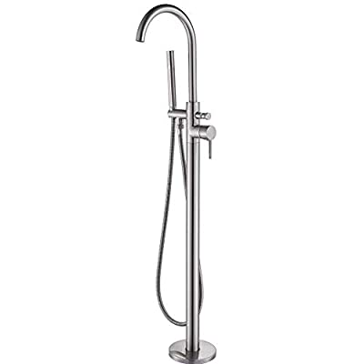 Votamuta Modern Nickel Brushed Free Standing Bathtub Shower Mixer Taps Floor Mounted Tub Shower Faucets with Hand Sprayer Single Handle