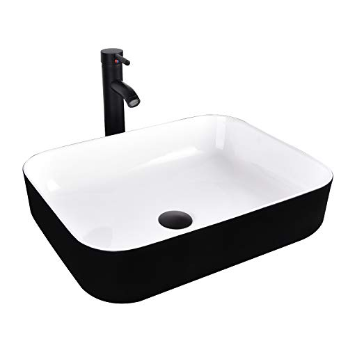 Bathroom Sink and Faucet Combo - Artistic Porcelain Ceramic Vessel Sink Basin Washing Bowl Set, Cabinet Countertop Sink with Chorme Faucet Pop-up Drain and Water Pipe Lavatory
