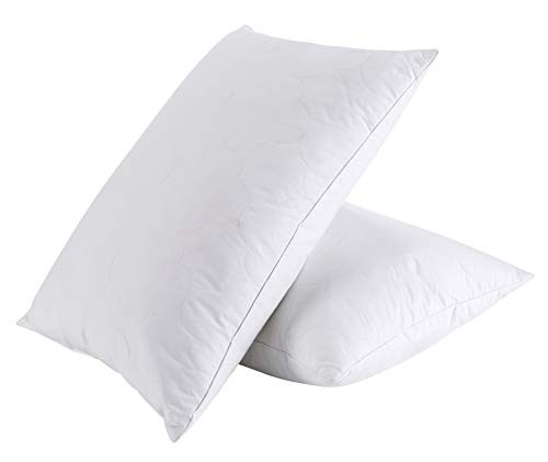 PEACE NEST Goose Feather and Down Pillows, 100% Cotton Cover, Cloud Quilted, Standard/Queen Size (2PACK)