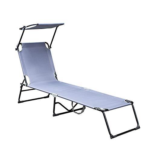 wolketon Sonnenliege, Gartenliege liegestuhl strandliege sonnenliege klappbar Freizeitliege Rückenlehne und Sonnendach verstellbar Freizeitliege, 189x55x27 cm, bis 110kg, Grau