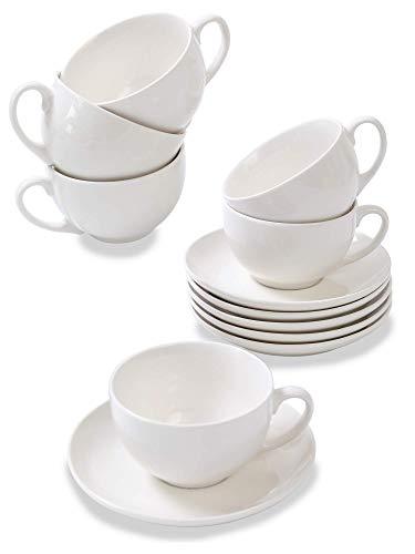 6 Tazas de Capuchino de Ceramica Blanca - Con Platos - 180ml - Con Caja de Regalo - Aptas para Lavavajillas y Microondas