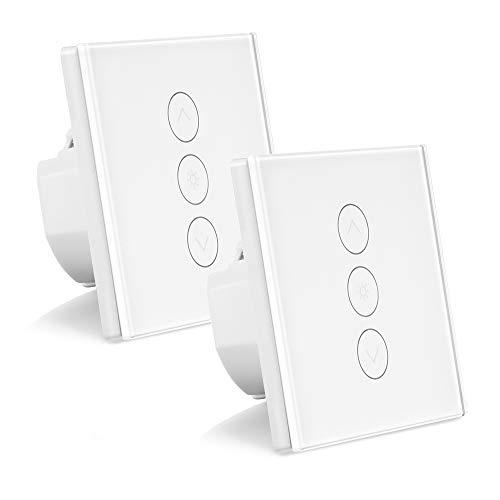 ALLOMN 2 Pack Smart Dimmer Schalter WLAN Berühren Lichtschalter Arbeit mit Alexa/Google Home/IFTTT/APP Fernbedienung, Timing Funktion, 2.4GHz Netzwerk (Neutralleitung Erforderlich)