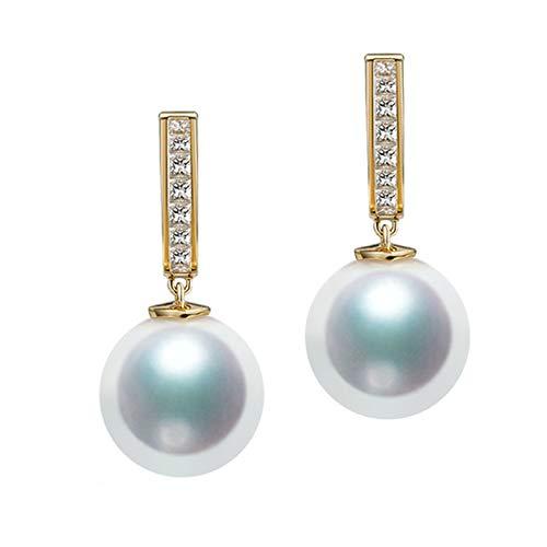 Boucle d'Oreille Femme, Créoles Diamant, Or 18 carats, Perle Eau de Mer Naturelle Boucles d'Oreilles Fine pour Cadeau Anniversaire