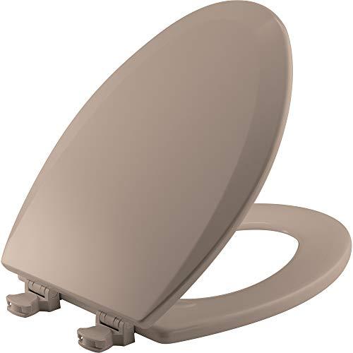 BEMIS 1500EC 068 Toilet Seat with Easy Clean & Change Hinges, ELONGATED, Durable Enameled Wood, Fawn Beige