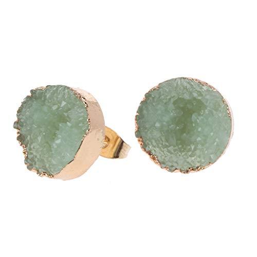 NUEEUDD - Pendientes de tuerca para mujer, diseño de geoda, de cuarzo natural irregular, regalos