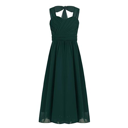 IEFIEL Vestido Elegante de Fiesta Boda para Niña Vestido Cóctel de Dama de Honor Vestido Princesa Sin Manga de Ceremonia Cumpleaños Verde 12 años