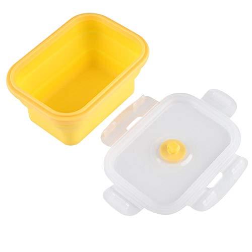 Caja Bento de silicona de grado alimenticio, sin BPA, no tóxica, 5.3 x 3.9 x 2.6 pulgadas, caja de almuerzo, para picnics para camping (amarillo)