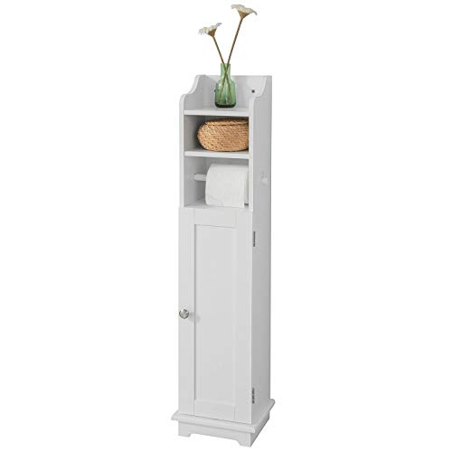 SoBuy FRG177-W Freistehend weiß Toilettenrollenhalter Toilettenpapieraufbewahrung Badregal Toilettenschrank BHT ca: 23x100x18cm