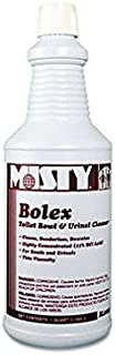 Misty Products - Misty - Bolex 23 Percent Hydrochloric Acid Bowl Cleaner, 32 oz. Bottle, 12/Carton - Sold As 1 Carton - Highly concentrated; dissolves organic encrustations, scale and stains. - Contains blend of detergent, inorganic acid, wetting agents and rinse additive to keep toilet bowls and urinals bright and clean. - Regular use helps clean traps and lines.