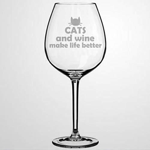 Gatos y vino hacen la vida mejor, copas de vino impresas sopladas a mano para inauguración de la casa, perfectas para bodas, fiestas de cumpleaños, aniversario, 17 onzas