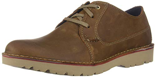 Clarks Men's Vargo Plain Oxford, Dark Tan Leather, 110 M US