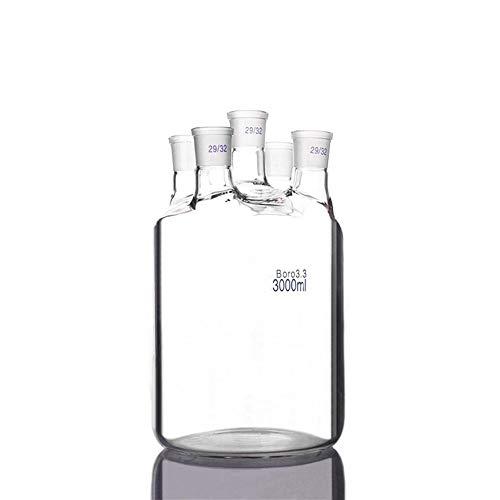 Frasco de destilación De una sola capa cilíndrico de fondo plano de cuello-Five 3000 ml Frasco, conjunta 29/32, de una sola capa de botellas Reactor, Suministros cuello recto cristalería de laboratori