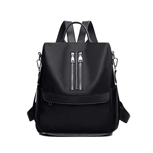 Ningz0l dames rugzak, dames handtas, Oxford Wild Zipper outdoor reis student bag 31 * 30 * 16 cm zwart
