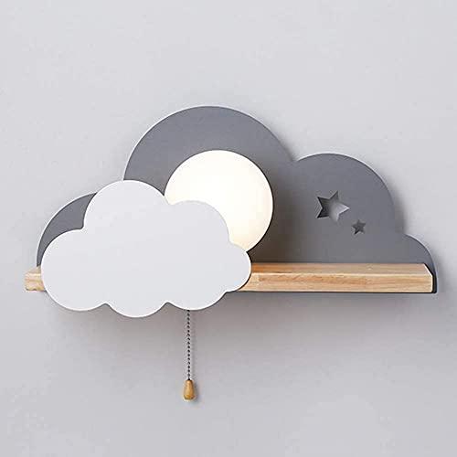 KDLAK Lámpara de pared de habitación de niños de dibujos animados Lámpara de pared de madera de cabecera Led con interruptor Iluminación de pared de dormitorio Luz de decoración con forma de nube cre