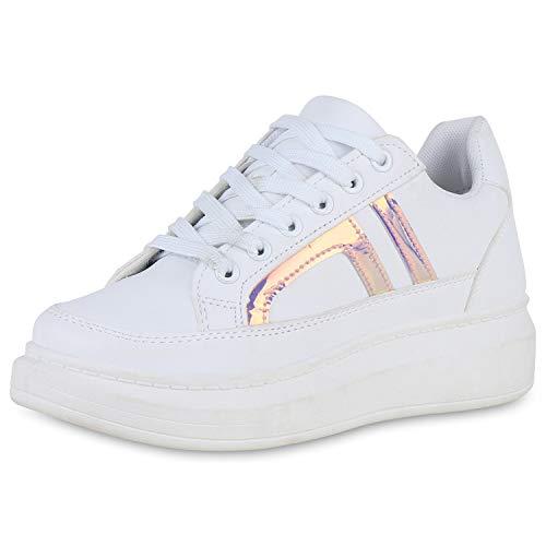 SCARPE VITA Damen Plateau Sneaker Metallic Turnschuhe Holo Leder-Optik Schuhe Schnürer Freizeitschuhe Lack 191376 Weiss Rosa Lila Holo 37