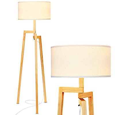 Brightech New Mia LED Tripod Floor Lamp- Modern Design Wood Mid Century Style Lighting for Contemporary Living or Family Rooms- Ambient Light Tall Standing Survey Lamp for Bedroom