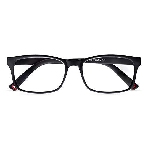 Lesebrille für Herren, Lesebrille für Damen, 1 1,5 2,0 2,5 3, 3,5 Zoll, schwarzer Rahmen, quadratischer Rand, trendige Brillen, Geek Nerd Style ✅ Verkauft in UK Optiker