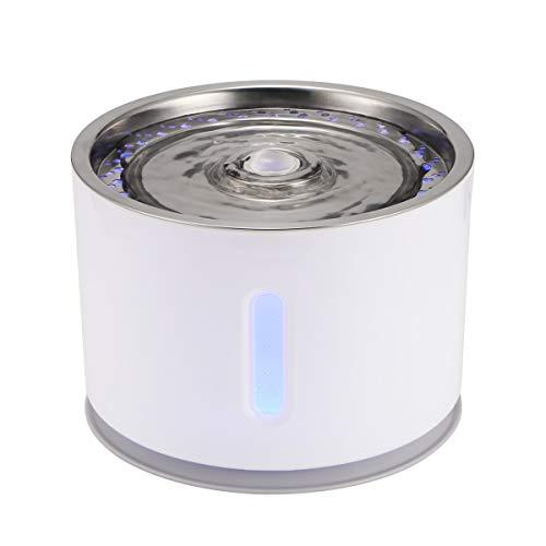 Winbang Pet Water Fountain, 2.4L auswechselbarer automatischer Filtrations-Wasserspender Stummaktivierter Aktivkohle-Spender mit Edelstahldeckel USB Powered (Ohne Blüte)