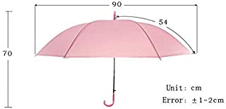 HENGTONGTONGXUN Semi-Automatic Transparent Umbrellas for Protect Against Wind and Rain Long-Handle Umbrella Clear Field of Vision (Color : Pink)