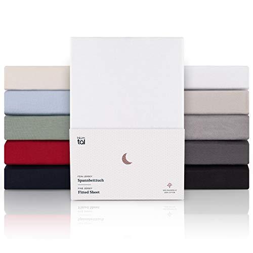 Blumtal Premium Spannbettlaken 180x200cm - Superweiches 100% Baumwolle Spannbetttuch, bis 25cm Matratzenhöhe, Weiß