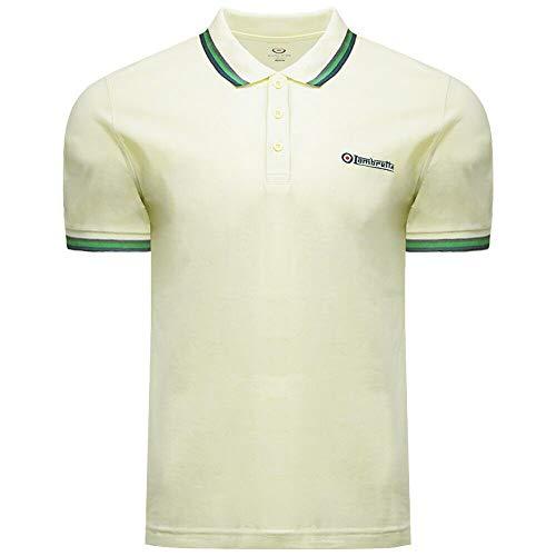 Herren Poloshirt Lambretta Target & Logo, Baumwolle, SS 1650, Sylvan Green Gr. L, gebrochenes weiß