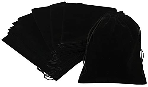 Pouchy 10Pcs Soft Black Velvet Jewellery Pouches Gift Bags with Drawstring (20x30 cm)