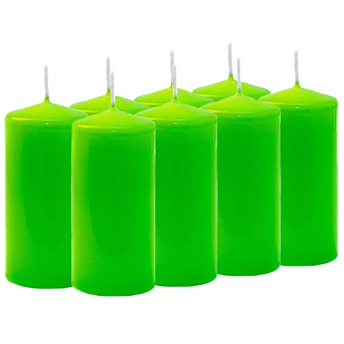 Aura LIME Green Pillar Candles (50mm x 100mm) - PACK of 8