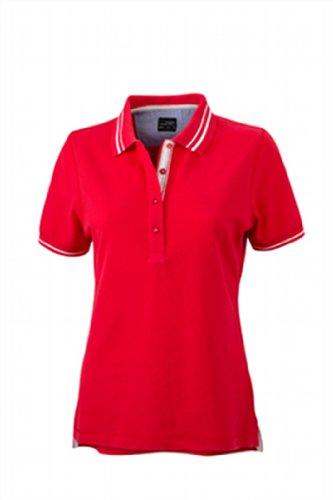 James & Nicholson Damen Poloshirt Ladies' Lifestyle Large red/off-white