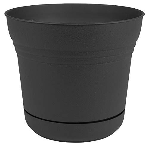 "Bloem Saturn Planter with Saucer, 10"", Black"