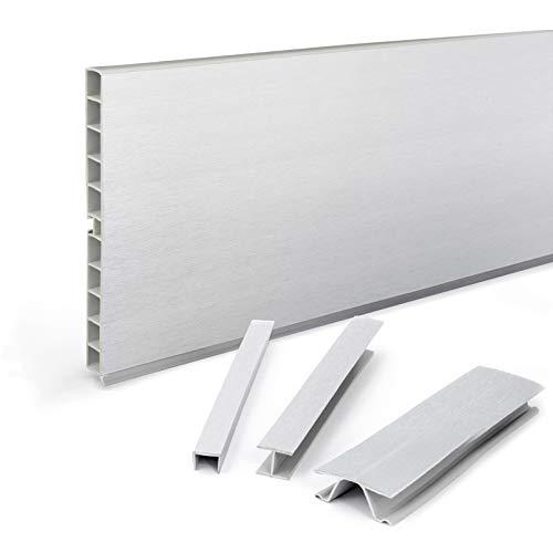 DQ-PP Eckverbindung für Sockelleiste | Sockelblende | 150mm | Aluminium gebürstet | Kunststoff | Sockel | Sockelleisten | Sockelprofil | Küchensockel | Kuechensockelleiste für Einbaukueche