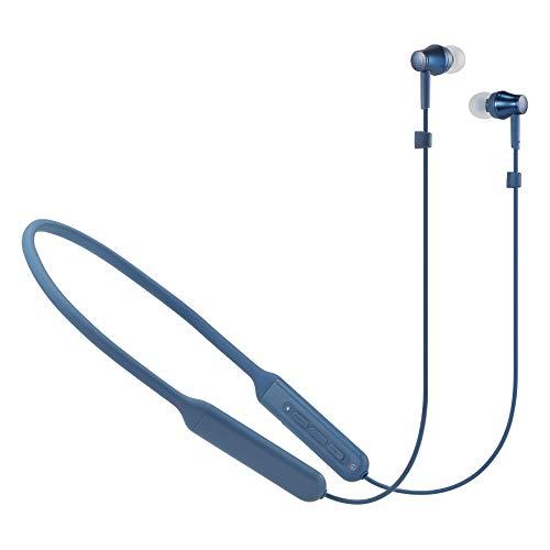audio-technica ワイヤレスイヤホン Bluetooth リモコン マイク付き ブルー …