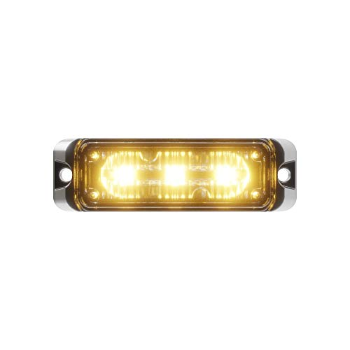 Abrams Flex Series (Amber) 9W - 3 LED Tow Truck Snow Plow Construction Vehicle LED Grille Light Head Surface Mount Strobe Warning Light