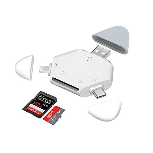 Hearkey Kartenlesegerät 3 in 1, USB C SD/Micro SD/TF Card Reader, Kartenleser USB 2.0, Speicherkartenleser für iPhone,Typ C und USB-Geräte Kompatibel mit MacBook, Samsung, Huawei, iPad,Chromebook