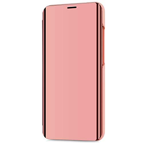 Kompatibel mit LG V30/LG V30 Plus/LG V30S ThinQ Hülle Schutzhülle PU-Leder Flip Überzug Spiegel 360-Grad-Schutz Tasche Ledertasche Handytasche Lederhülle Hülle Bookstyle Ständer Hart PC Hülle,Rose Gold