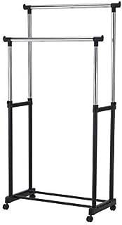 Cloth Rack 2 pole, Metal Double Pole Telescopic Clothes Hanger, Black