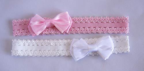 Pack de 2 bandas de bebé blanco y rosa con lazo de tela. Envío GRATIS 72h