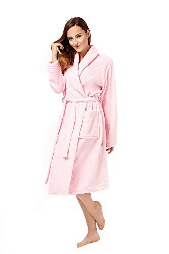 Envie Damen Bademantel mit Schalkragen light pink S/M