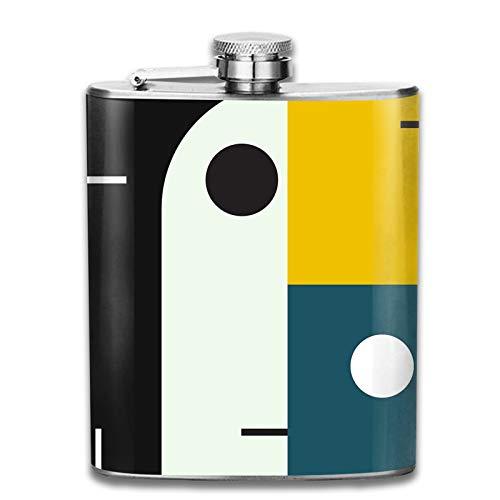 Petaca de acero inoxidable portátil de 7 onzas de petaca Bauhaus Age plana para licor, whisky, vino, bandera, taza para escalada, camping, barbacoa, bar, fiesta, bebedor