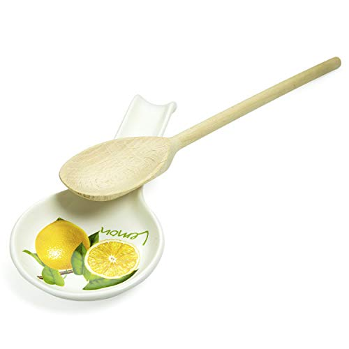 Lemon Spoon Rest Ceramic for Kitchen Stove with Wooden Spoon for Cooking - Unique Kitchen Gift Set for Cooking Lover