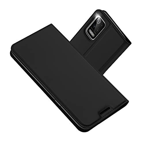 Radoo Kompatibel mit LG K52 Lederhülle, PU Leder Handyhülle Brieftasche-Stil Magnetisch Klapphülle Etui Brieftasche Hülle Schutzhülle Tasche für LG K52 (Schwarz Grau)
