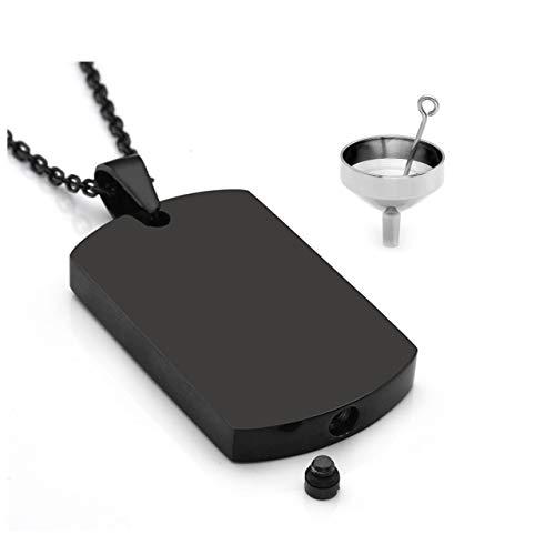 Jovivi Men Urn Necklaces for Ashes Stainless Steel Black Dog Tag Pendant Memorial Cremation Jewelry Funnel Filler Kit