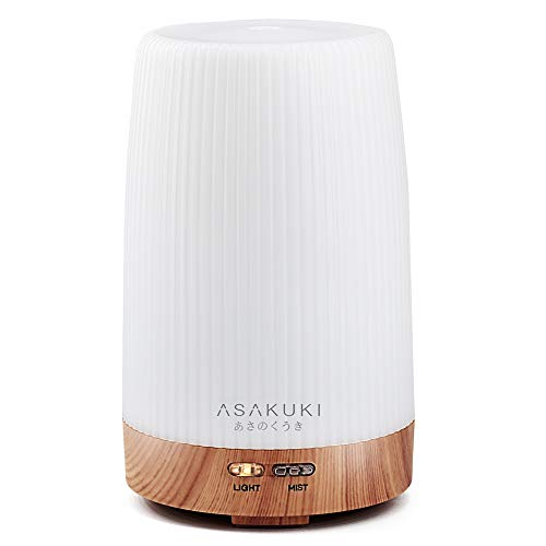 ASAKUKI Portable Essential Oil Diffuser, Ultrasonic 100ml Aroma Diffuser Cool Mist Humidifier with 7 LED Light Color, Intermittent Timer and Auto-Off Safety Switch Design for Baby Home Office