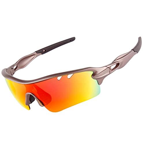 Gafas de sol polarizadas deportivas para ciclismo para hombres y mujeres Lentes de protección UV400 para diversas condiciones climáticas Esquí Golf Ciclismo Descenso Correr y otros deportes(grey)