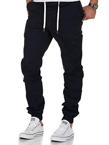 Amaci&Sons Herren Stretch Jogger Basic Chino Jeans Hose Cargo 7002 Navyblau W31